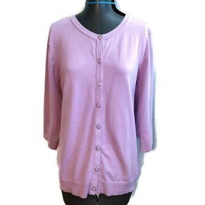 CJ Banks Cardigan Sweater 1x Button Purple spring
